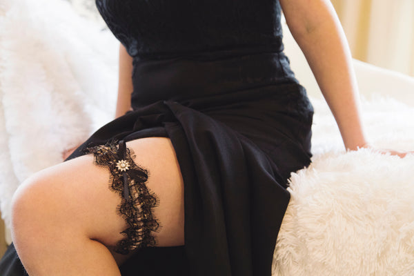 Rose Gold and Black Eyelash Lace Garter