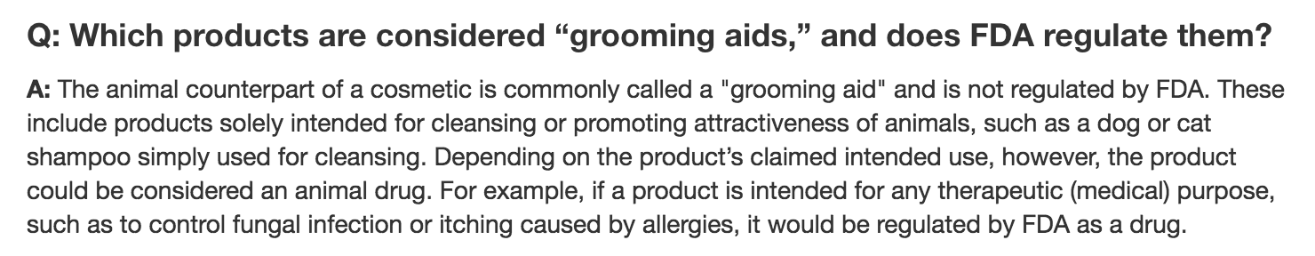 FDA Lack of Regulation of Grooming Products