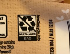 Non recyclable symbol on the bag of veggie sausages