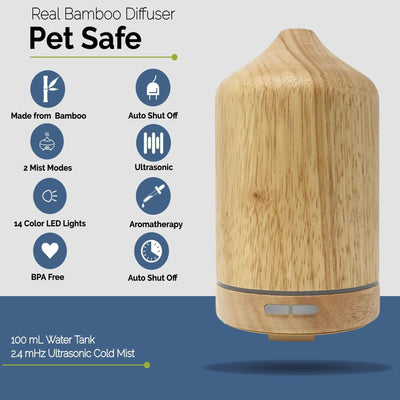 Wood Bamboo Ultrasonic Aroma Diffuser and Humidifier with LED Light