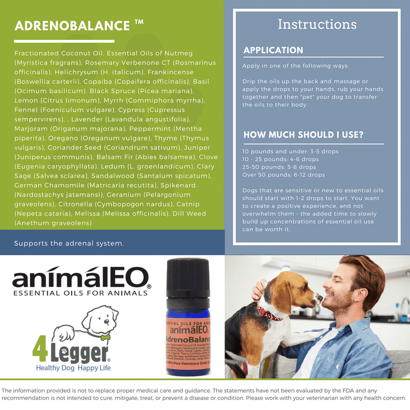 AdrenoBalance pet safe essential oil blend to help balance your dog's adrenal glands