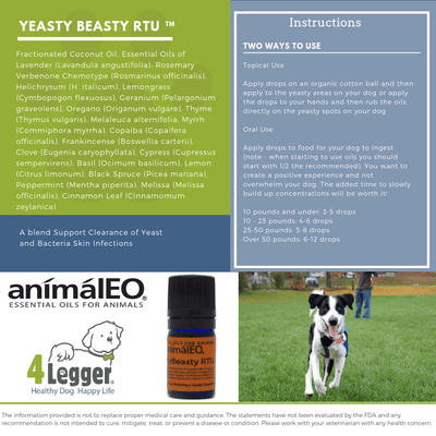 Essential Oil Blends By AnimalEO - YeastyBeasty™ RTU To Support Clearance Of Yeast And Bacteria Skin Infections, Itching And Promotion Of Dermal Comfort By AnimalEO®