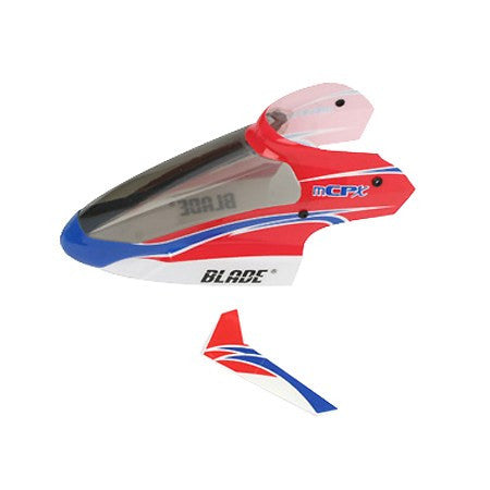 BLH3518 Blade mCP X Complete Red Canopy with Vertical Fin - Model Heli Services