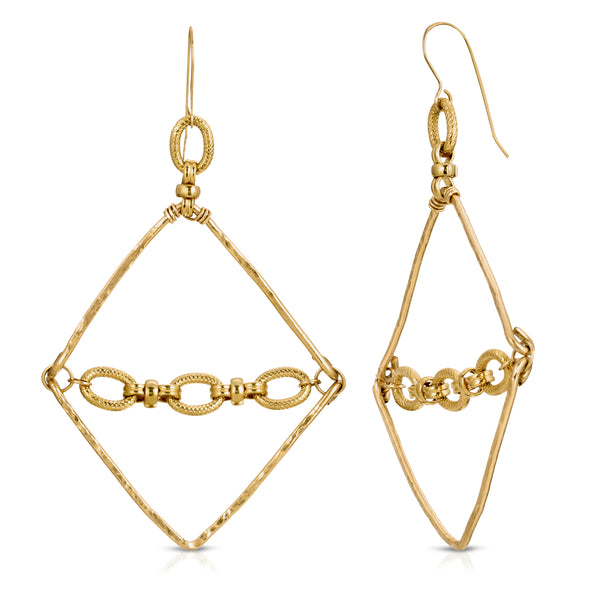 Nina Diamond Shaped Gold Earrings