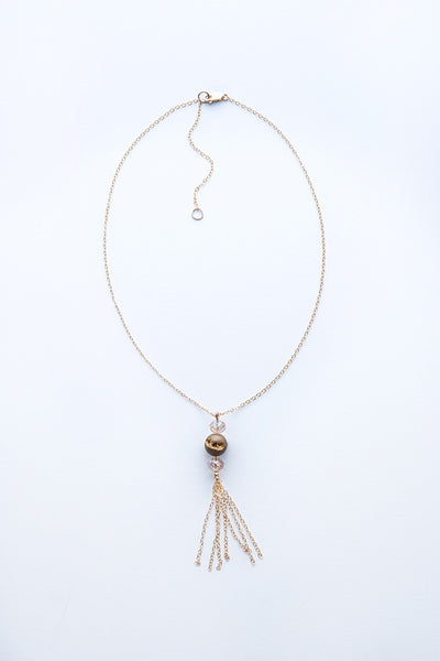 Lava Druzy and Tassel Necklace