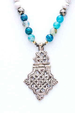 Saba Beaded Cross Necklace