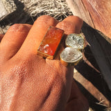 Herkimer Carnelian Gemstone  Ring