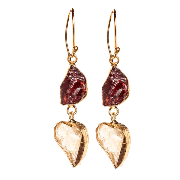 Malia Garnet Citrine Earrings