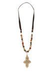 Zewditu Beaded Cross Necklace