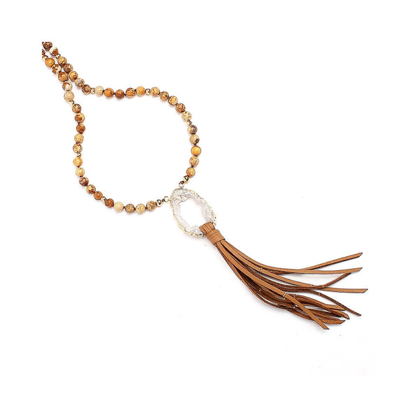 Kayla Beaded Necklace with Leather Tassel