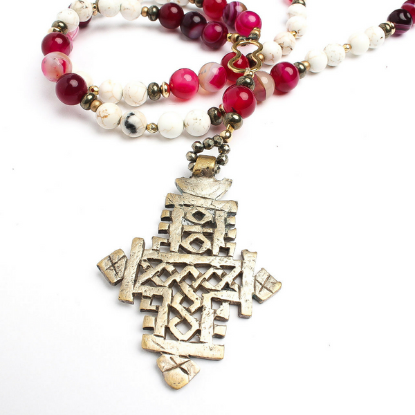 Eleni Double Wrap Beaded Cross Necklace