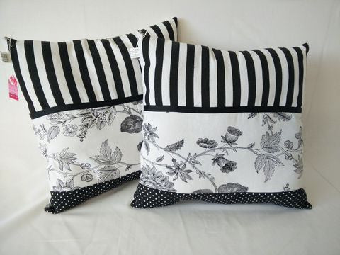Cushion - Black and white stripe with florals