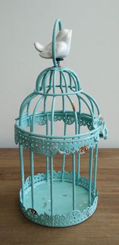 Candle holder - Round Aqua Birdcage