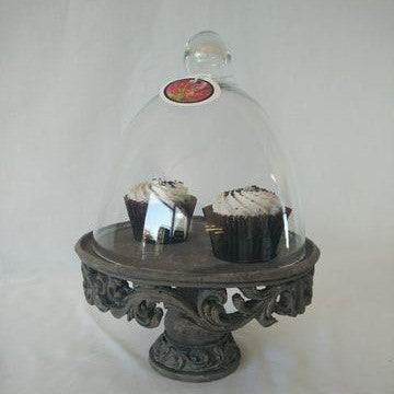 Metal Base Cake Stand with Glass Lid