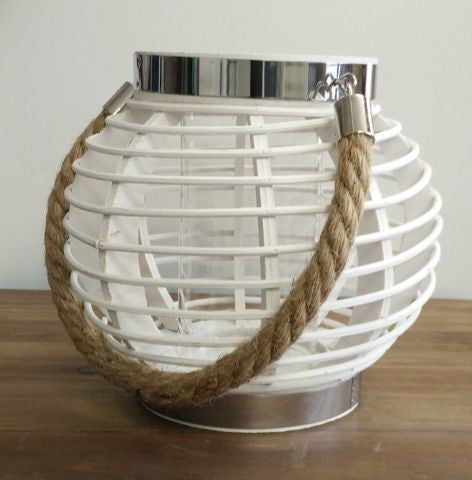 Candle holder / Lantern - White with Rope handle
