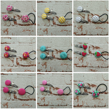 Fabric button hair sets- Assorted designs
