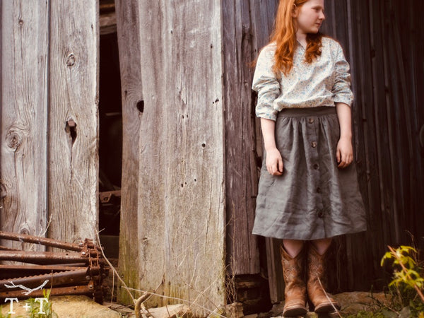 Meadow Skirt with button front by Twig + Tale