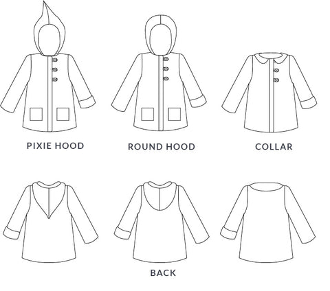 Women's Pixie Pea Coat sewing pattern by Twig + Tale