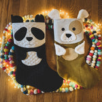 panda christmas stocking sewing pattern by Twig + Tale