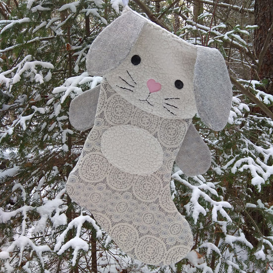 bunny christmas stocking sewing pattern by Twig + Tale