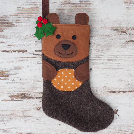 bear christmas stocking sewing pattern by Twig + Tale