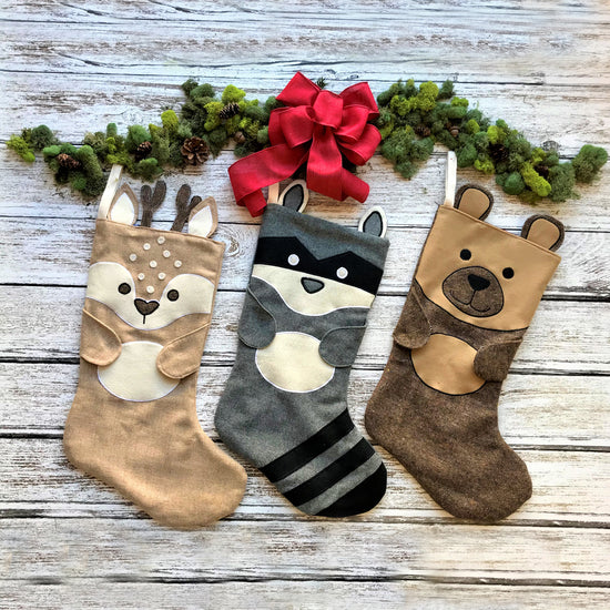 animal christmas stocking sewing pattern by Twig + Tale