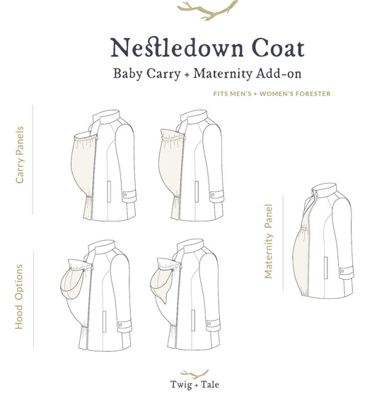 Nestledown Babywearing and Maternity Coat for Men and Women PDF sewing pattern by Twig + Tale