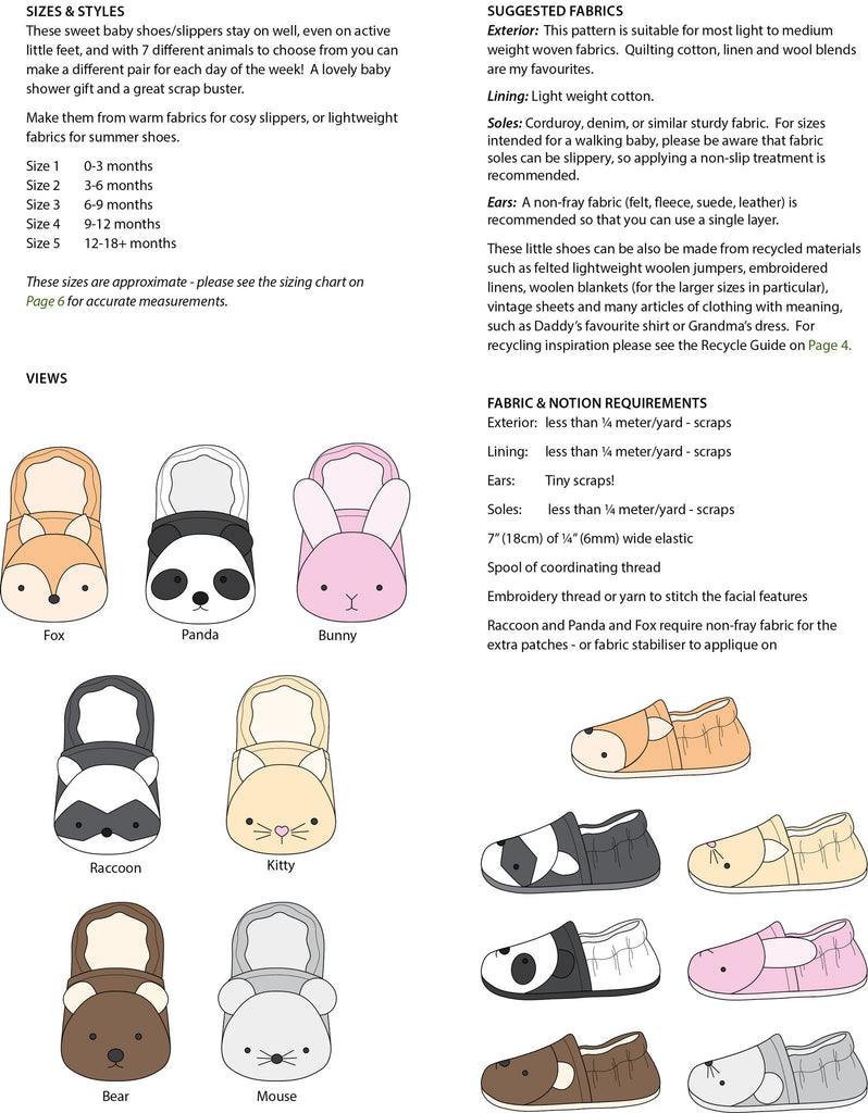 Wild Things Baby Shoes - Twig + Tale  - Digital PDF Download - 11