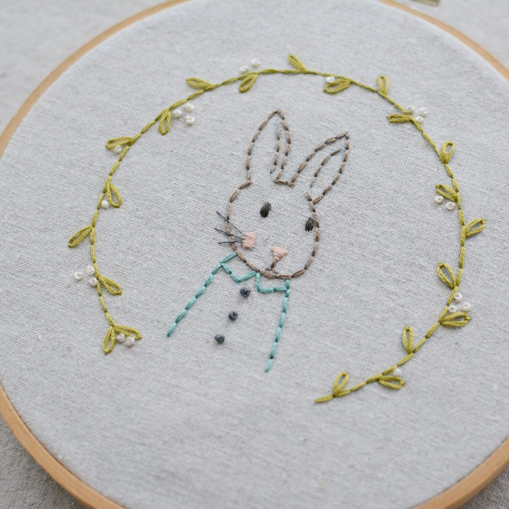Woodland Bunny Pocket - PDF digital embroidery pattern by Twig and Tale 3