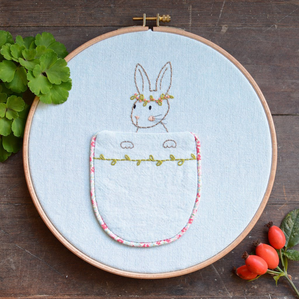 Woodland Bunny Pocket - PDF digital embroidery pattern by Twig and Tale