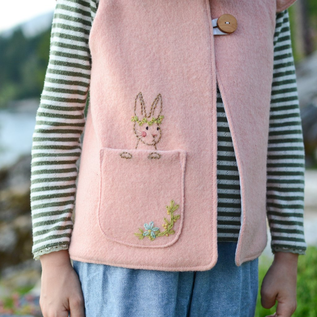 Woodland Bunny Embroidery Pocket