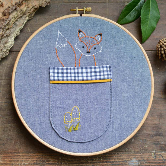 Woodland Fox + Mushroom Pocket - PDF digital Embroidery pattern by Twig + Tale
