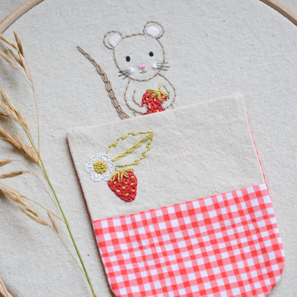 Woodland Mouse Embroidery Pocket