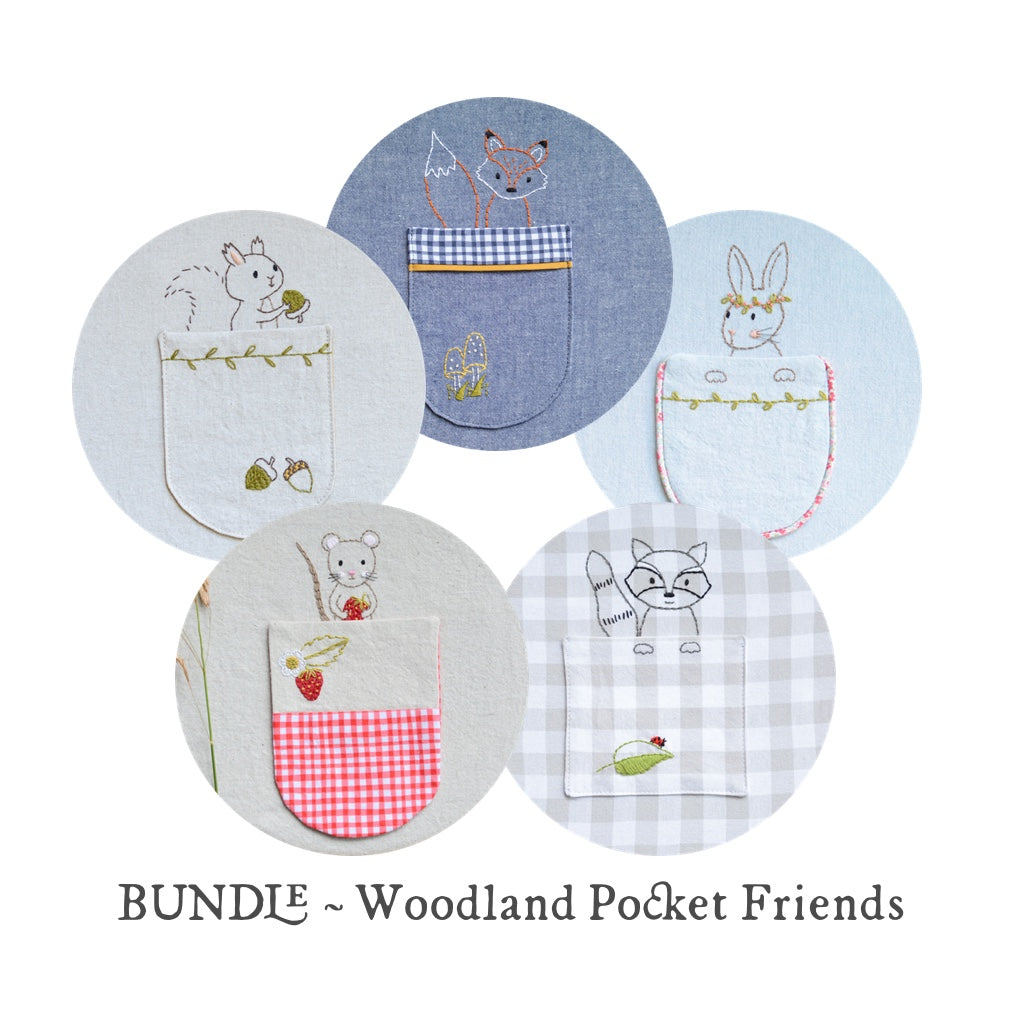 Woodland Friends Embroidery Pockets - BUNDLE