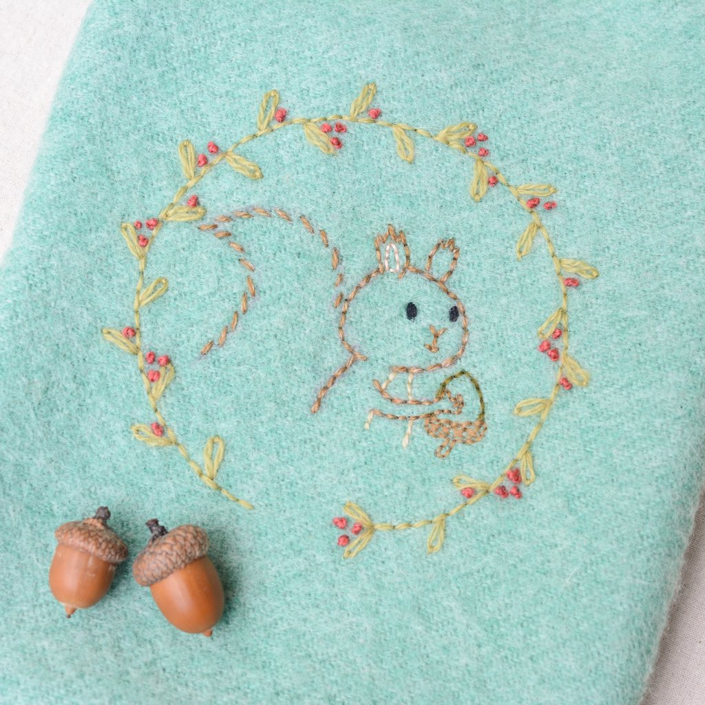 Woodland Squirrel Embroidery Pocket