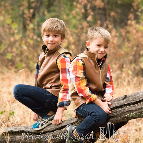 Boys - Outerwear trailblazer vest pdf digital sewing pattern by twig and tale