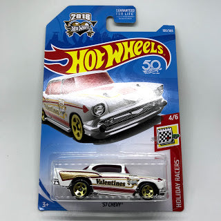 New 2018 Hot Wheels '50th Anniversary 57 Chevy Holiday Racers Valentines Day Car