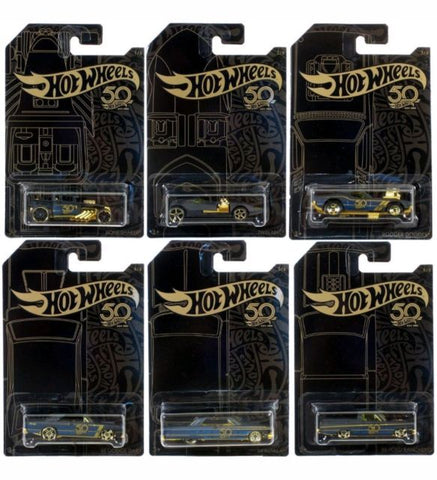 New 2018 Hot Wheels 50th Anniversary Black and Gold Set 1-6 Cars Full Set