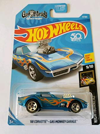 New 2018 Hot Wheels '68 Corvette Gas Monkey Garage 9-10 Night Burnerz Car