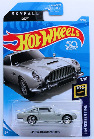 New 2018 Hot Wheels Aston Martin 1963 DB5 HW Screen Time Skyfall 007 James Bond Car Movie Car