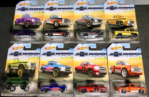 New 2018 Hot Wheels Chevy Trucks 100 Years Walmart Exclusive Full Set of 8 Trucks
