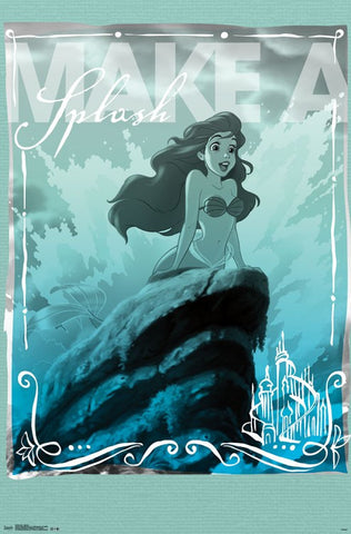Ariel - Splash Cartoon Wall Poster 22x34 RP14240 UPC882663042401 Disney