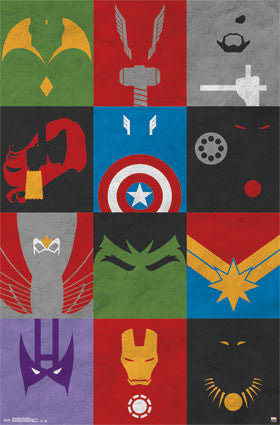 Avengers - Minimalist Grid RP13016 Movie Poster 22x34