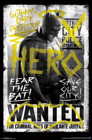 BVS - Fear The Bat Movie Poster 22x34 RP14066 UPC882663040667 Batman Vs Superman DC Comics