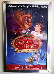 Beauty and the Beast Enchanted Christmas Movie poster 27x40  Used
