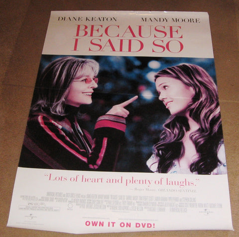 Because I Said So Movie Poster 27x40 Promotional Poster Used Diane Keaton, Mandy Moore