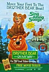 Brother Bear on My Way Movie Poster 27x40  Used TV Show Cartoon Sing Along Songs