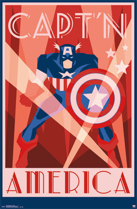 Captain America – Art Deco  Movie Poster RP13230 22x34 UPC882663032303 Marvel
