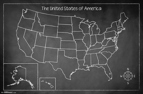 Chalk Map - USA Educational Poster 22x34 RP14747 UPC882663047475