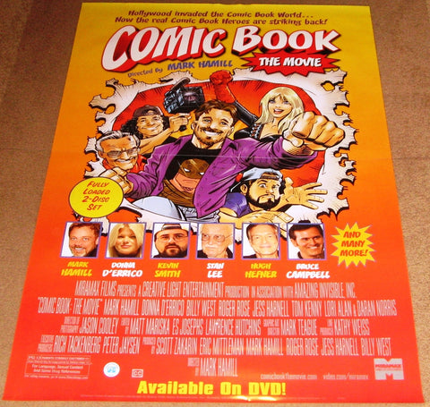 Comic Book the Movie 2004 Movie Poster 27x40 Used Mark Hamill (director) Hugh Hefner, Donna D'Errico, Stan Lee, Kevin Smith, Bruce Campbell